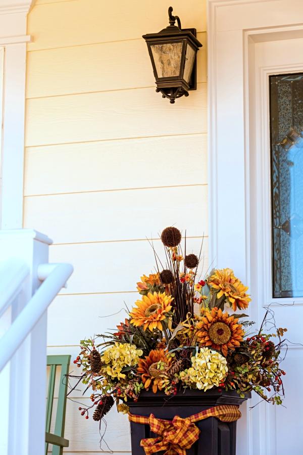 Fall Flower Arrangement in Urn Near Front Door