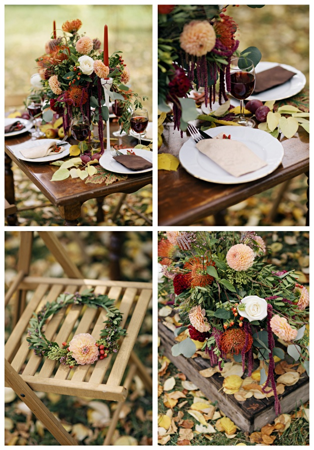 Dinning Table Set For Wedding. Autumn Flowers Table Decor, Floral Design On A Table Dinner.