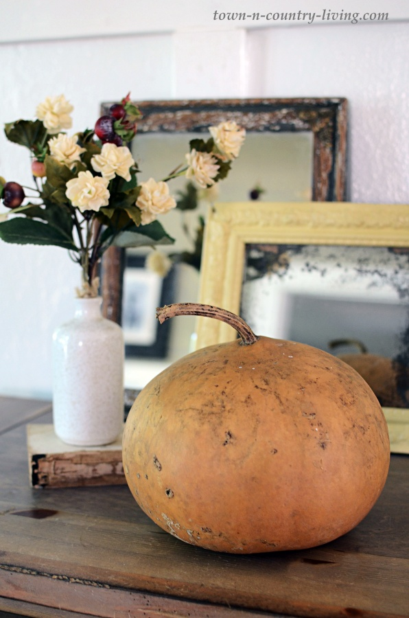 Gourd and Fall Flowers with Vintage Mirrors