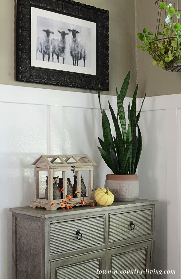 Gray Bachelor Cabinet in Modern Country Fall Home Tour