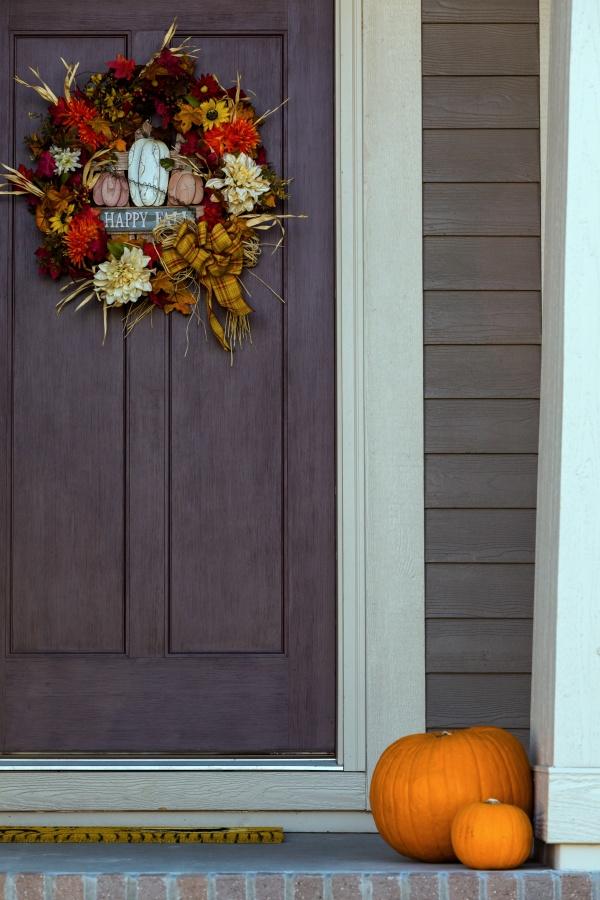 Fall Wreath on a Dark Gray Front Door