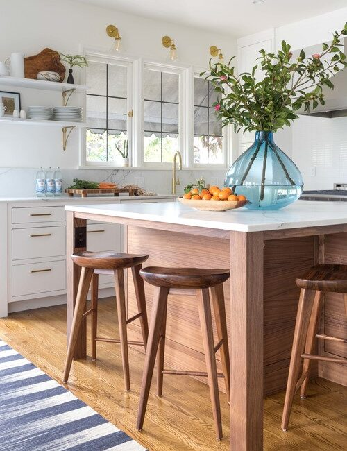 Wooden Stools and Kitchen Island in White Country Kitchen