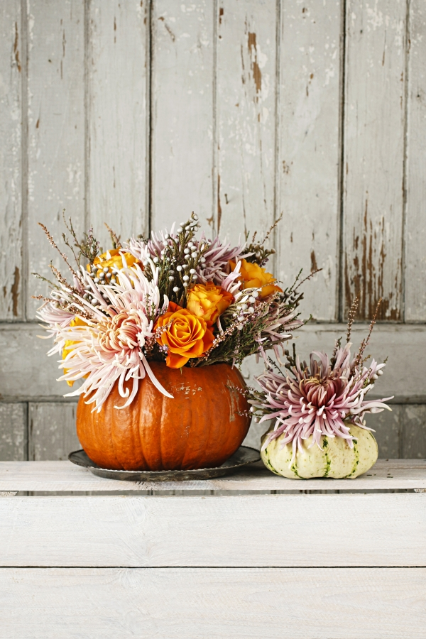 Fall Flower Arrangements in Hollowed Out Pumpkins