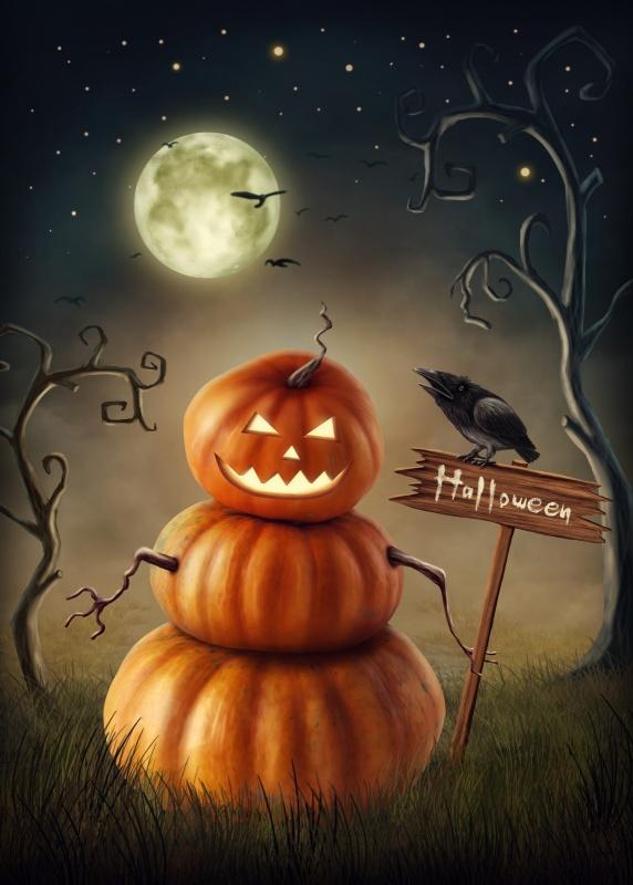 Pumpkin man with a wooden sign