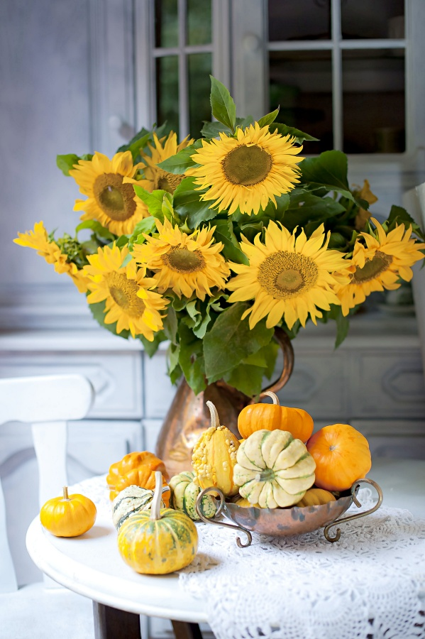 Sunflowers and Gourds for a pretty fall vignette