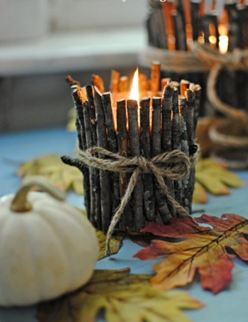 DIY Rustic Twig Candles
