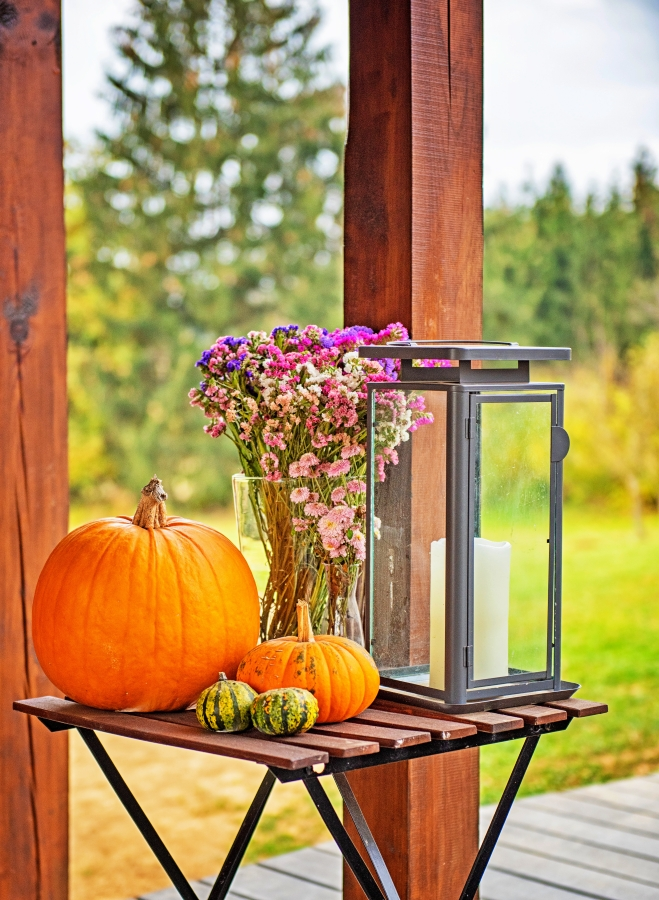 Porch Lantern with Pumpkins and Fall Flowers