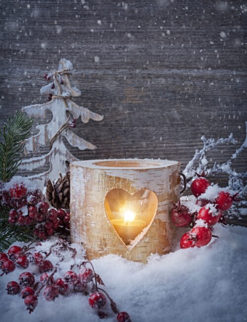 Birch Cut-Out Candle Holder with Heart and Christmas Berries
