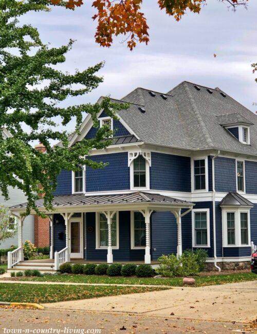Dark Blue Victorian House