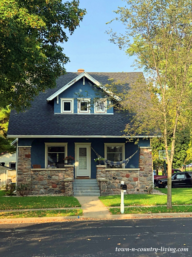 Dark Blue Bungalow with Stone Porch