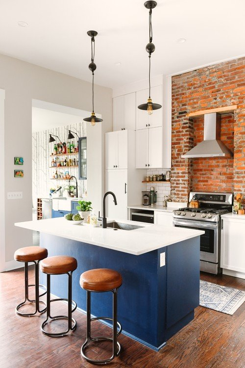 Blue Kitchen Island in Eclectic Kitchen Renovation in 1800s House