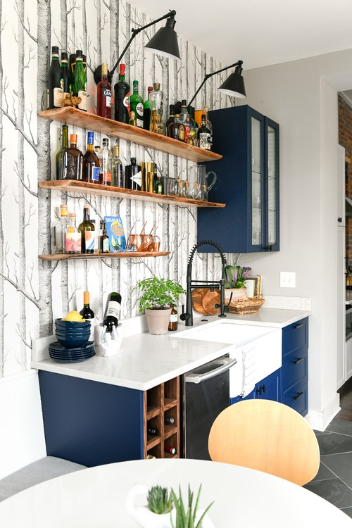Eclectic Kitchen Renovation with Blue Cabinetry, Open Shelves, and Birch Tree Wallpaper