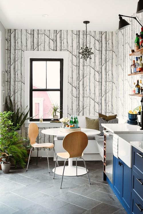 Breakfast Nook with Birch Wallpaper in Eclectic Kitchen Renovation