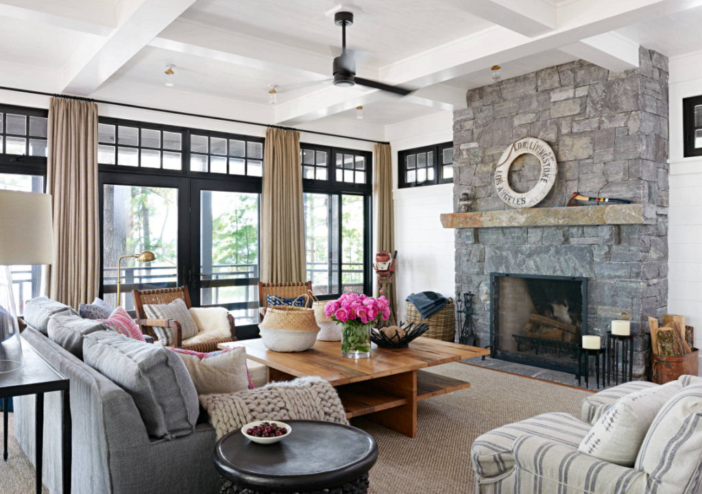 Stone Fireplace in Canadian Cottage Living Room