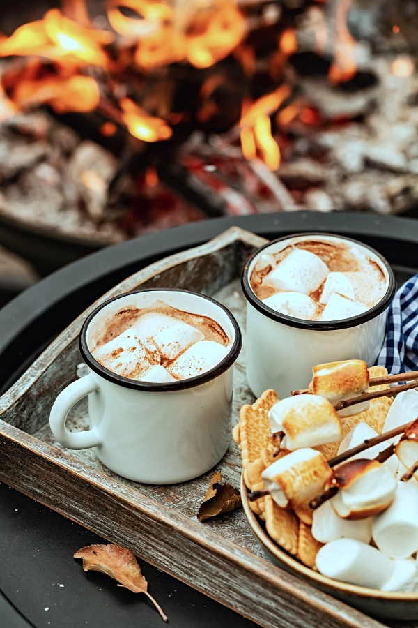 Roasting marshmallows by a campfire with mugs of hot chocolate