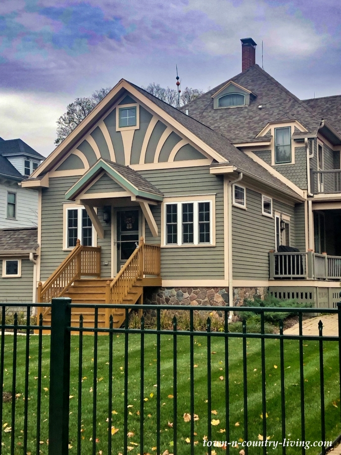 Green and Cream Victorian Porch - Historic Home