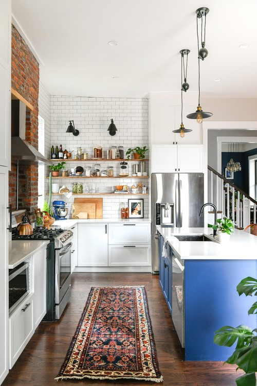 Eclectic Renovated Kitchen with Brick Wall, Subway Tile, and Blue Kitchen Island
