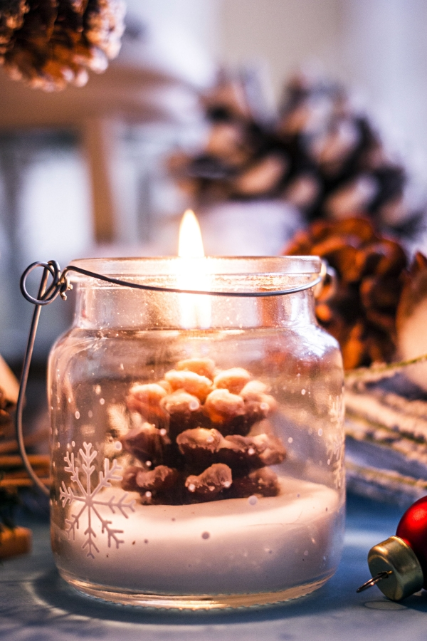 Pine Cone Candle in Glass Jar