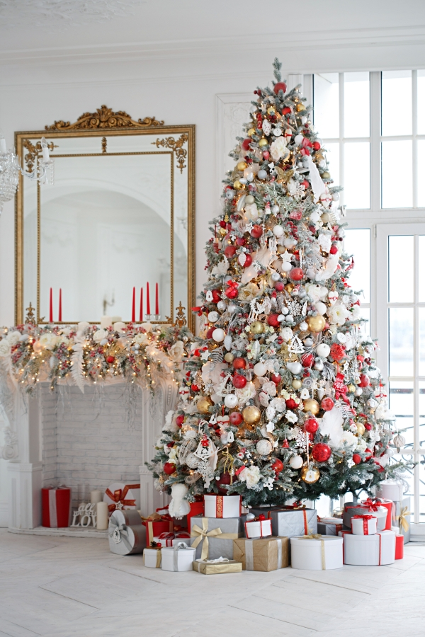 Over-Stuffed Christmas Tree with Variety of Ornaments in Red, White, and Gold