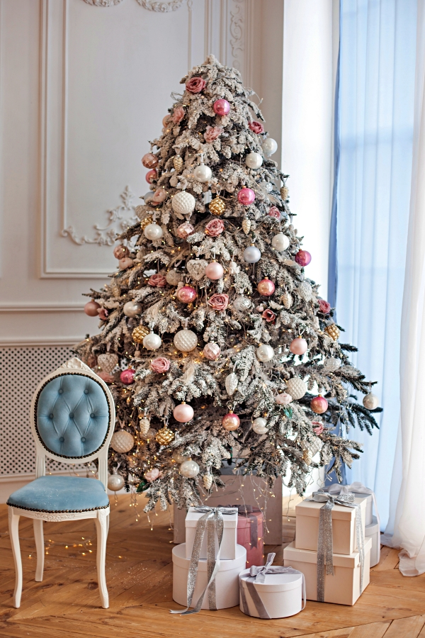 Shabby Chic Christmas Tree in Powder Blue and Pink