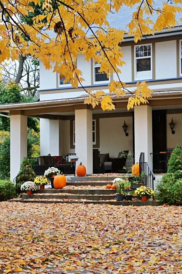 Stucco home with fall front porch - pumpkins, mums, and fallen leaves create a cozy vibe