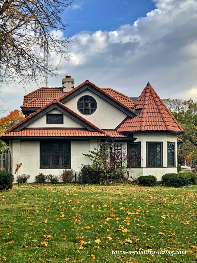 Stucco Home with Red Tile Roof