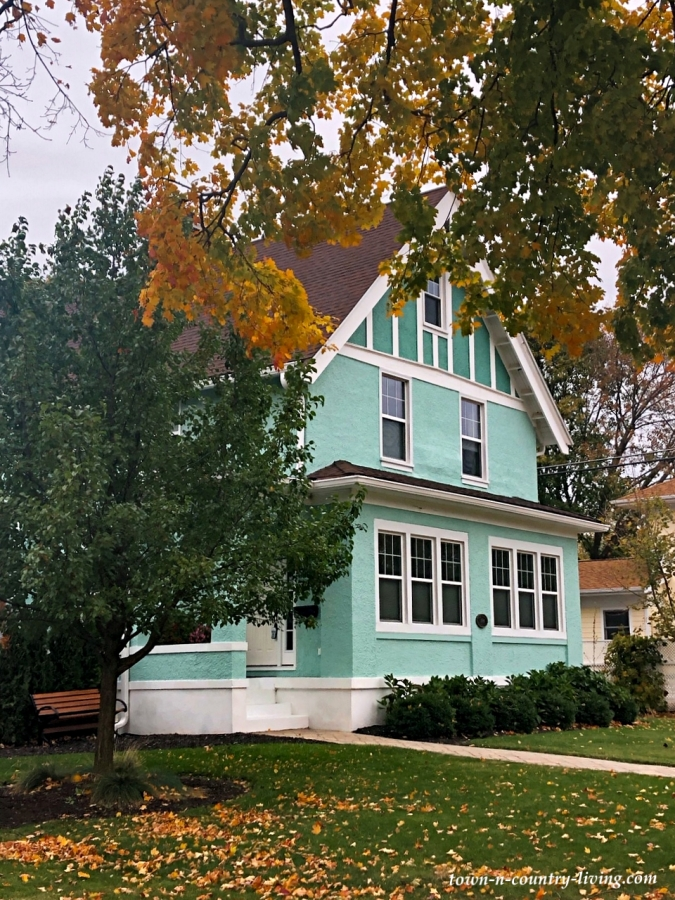 Vibrant Turquoise Historic Home Exterior