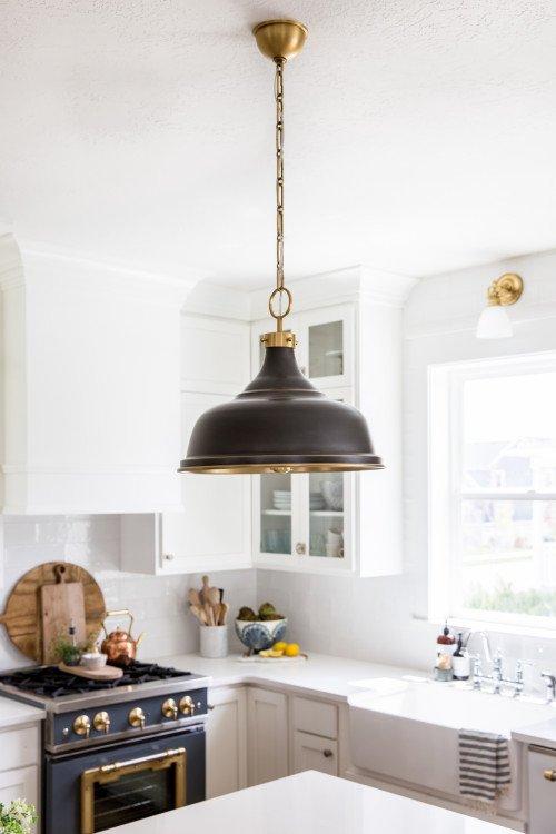 Black Pendant Farmhouse Light in Kitchen