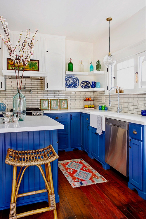 Azure blue craftsman kitchen with open shelves