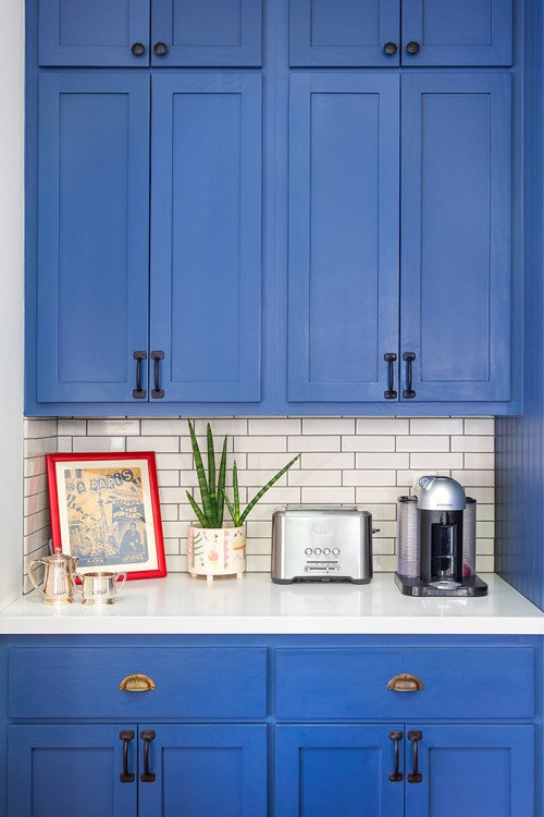 Azure Blue Kitchen Cabinets with Black Hardware