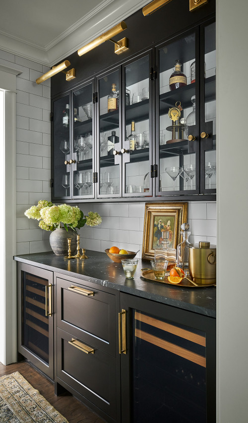 Sophisticated Black Wine Cabinet in Contemporary Country Style Kitchen