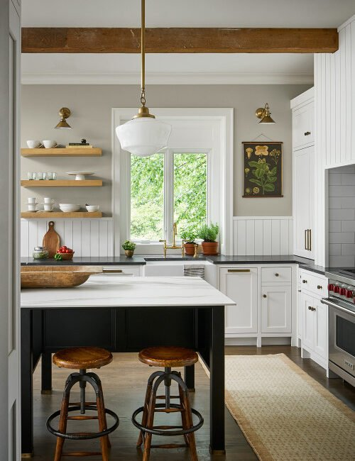 Contemporary Country Style Kitchen in Black and White