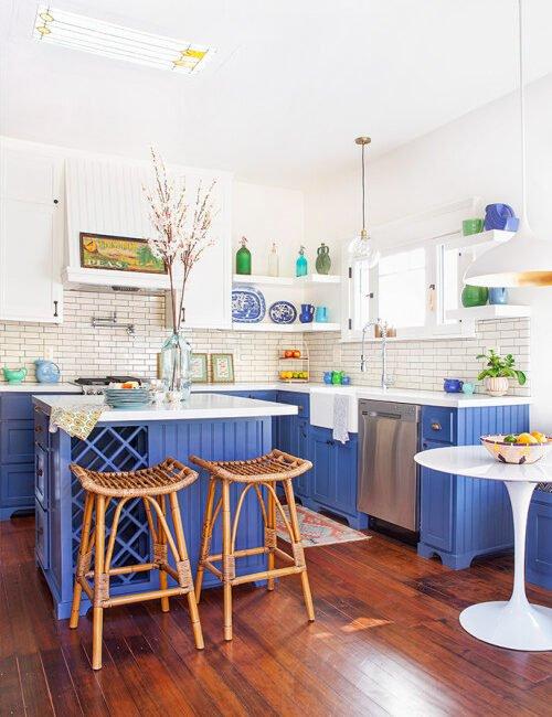 Azure blue craftsman kitchen with open shelves