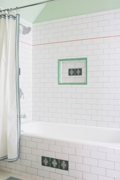 White and Pale Green Farmhouse Bathroom
