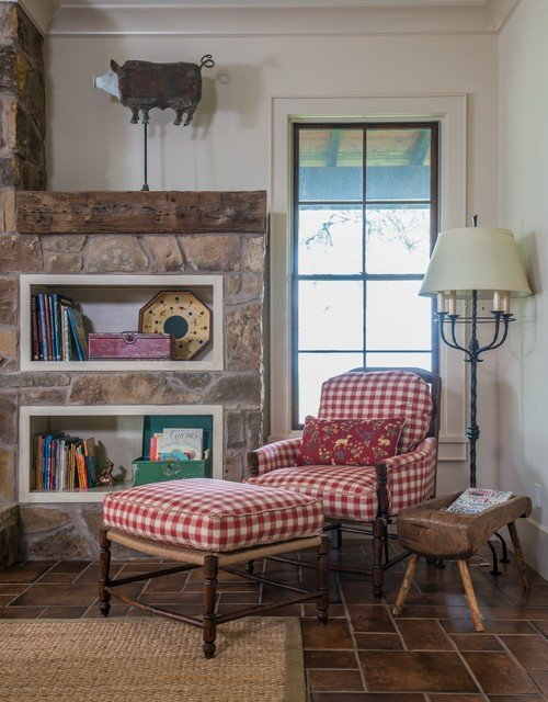 Red and white buffalo check chair with ottoman