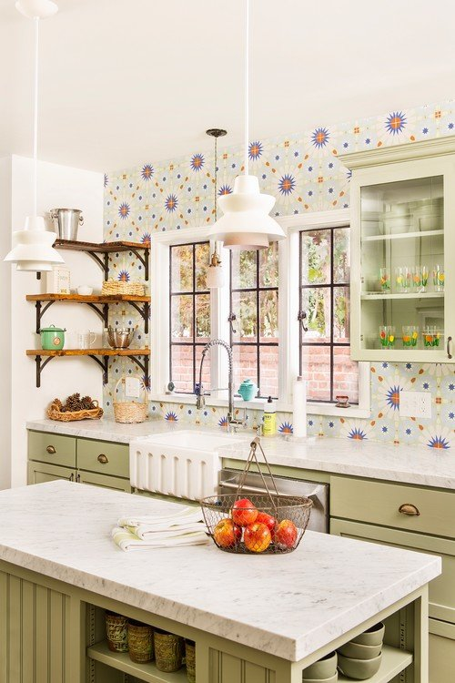Fun and Colorful Back Splash in Country Kitchen