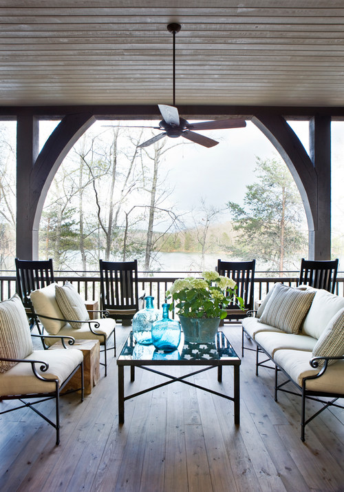 Outdoor Porch with Rocking Chairs - Southern Carolina Lake Home