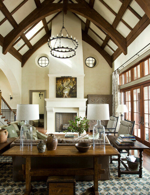 Earth Tones in Living Room with Unique Vaulted Ceiling