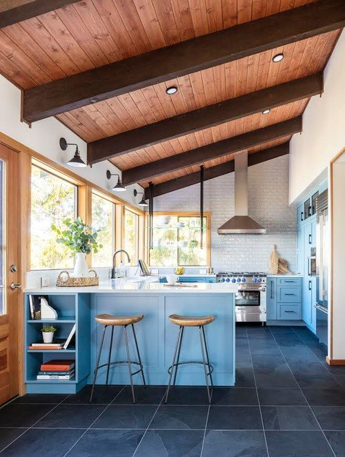 Peaceful blue kitchen with shaker cabinets and vaulted wood ceiling