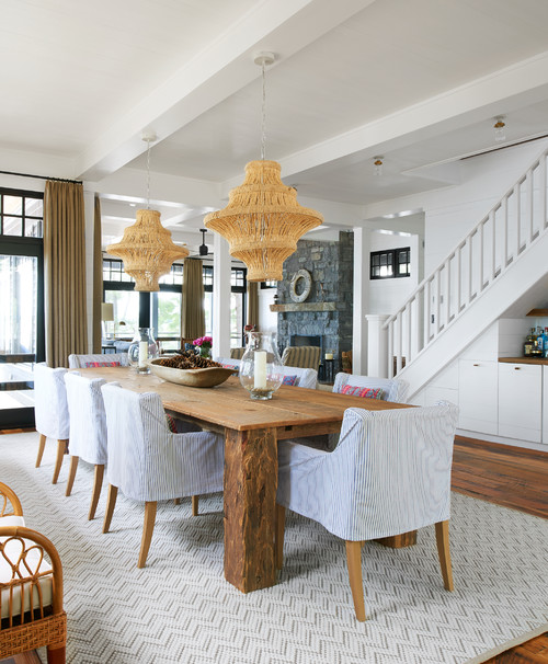 Farmhouse Style Dining Room with Basket Pendant Lights
