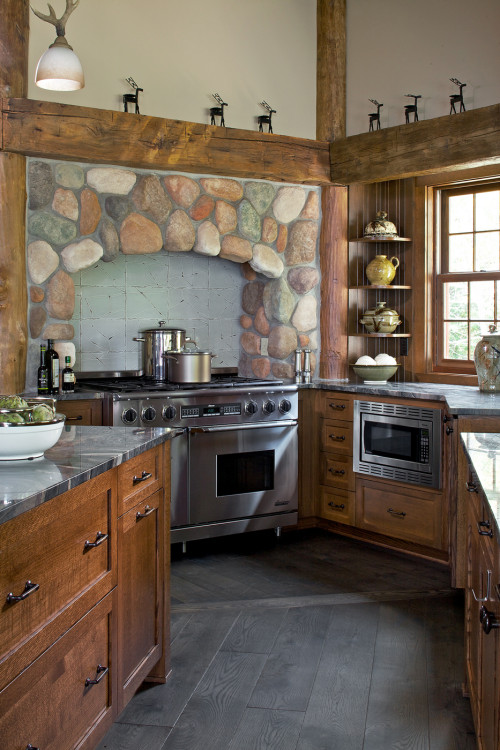 Rustic kitchen with wood beams, cabinets, and stone wall