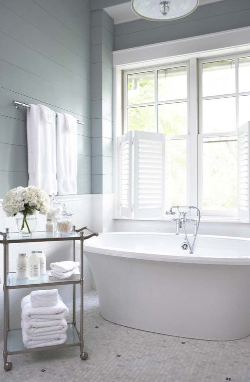 Gray and White Bathroom with Free Standing Tub
