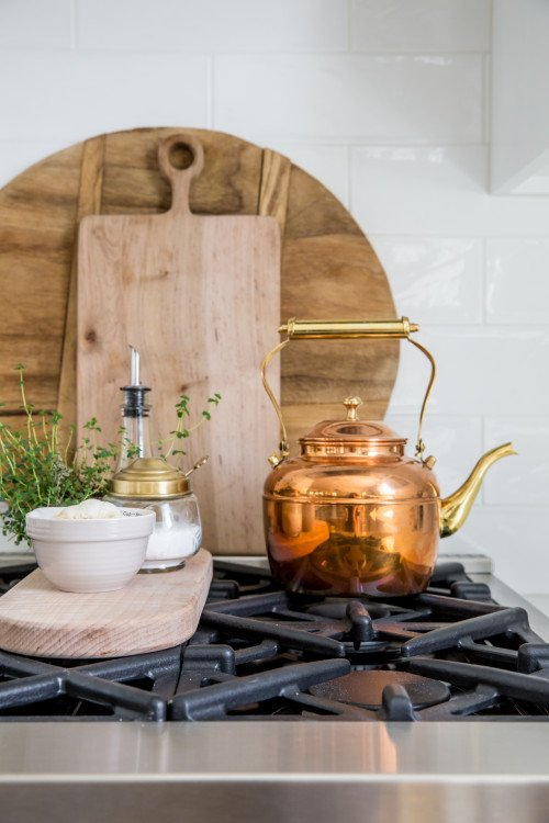 Wood Cutting Boards and Vintage Copper Tea Kettle