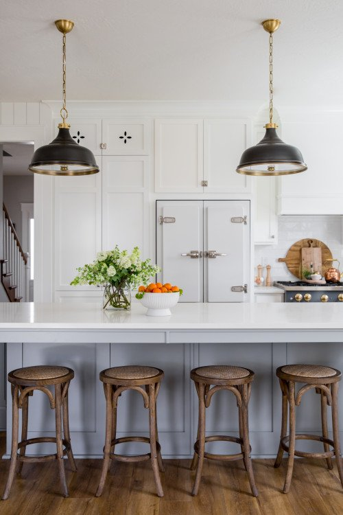 Vintage Farmhouse Kitchen with Island and Bar Stools