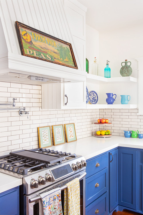 Blue and White Craftsman Kitchen with Open Shelving