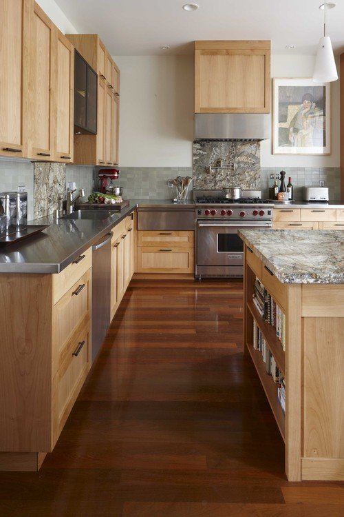 Light Wood Kitchen Cabinets with Marble Counter Tops
