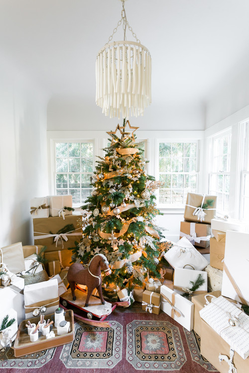 Boho Christmas Tree in Sun Room