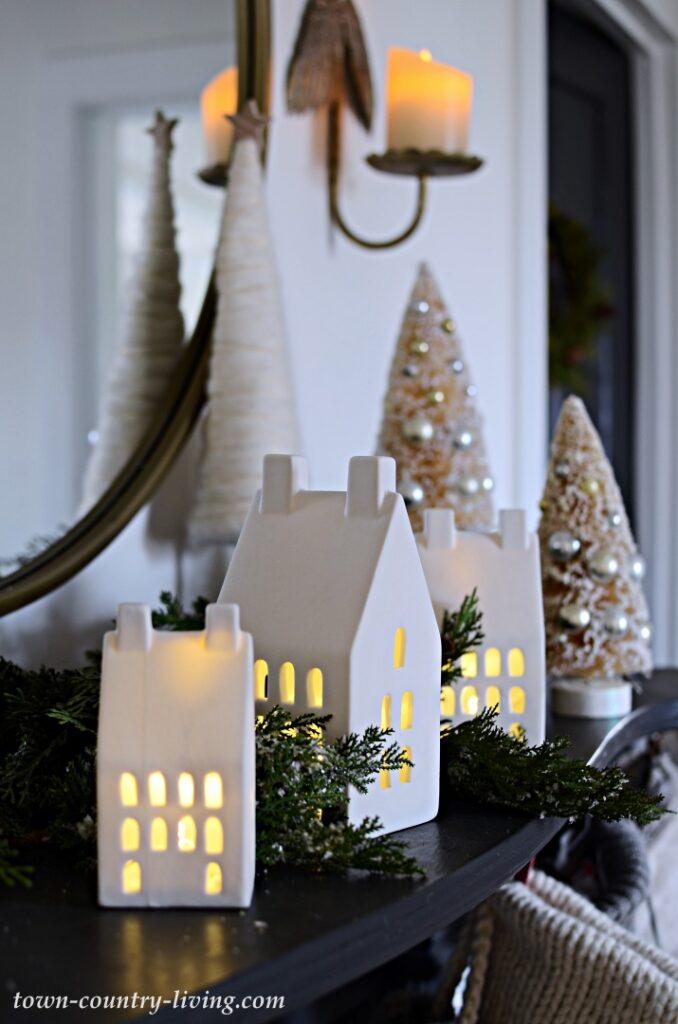 White Ceramic Light-Up Houses