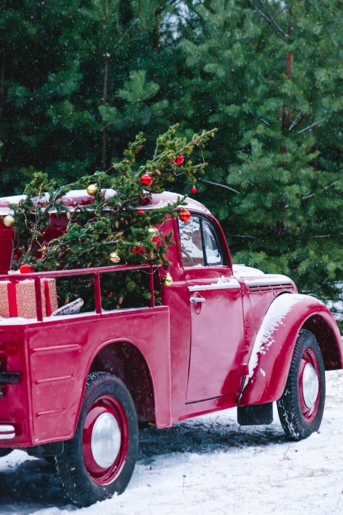 Vintage Red Truck Carrying Christmas Tree in the Snow