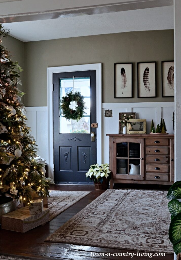Country Home Entryway with Christmas Wreath